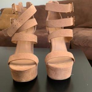 Taupe strappy buckle platform heels
